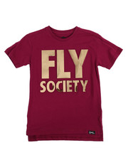 Fly Society - Embossed Mirror Metallic Logo Print Tee (8-20)-2167749