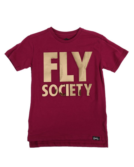 Fly Society - Embossed Mirror Metallic Logo Print Tee (8-20)