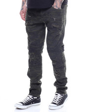 Men - CAMO DISTRESSED MOTO JEAN