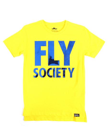 Fly Society - S/S Embossed Mirror Metallic Logo Print Tee (8-20)