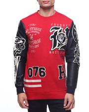 Pullover Sweatshirts - VARSITY FLEECE W PU SLEEVES