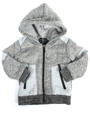 Arcade Styles - Color Blocked Marled Fleece Full Zip Hoodie (2T-4T)