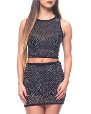 Womens New Years Eve Outfits - S/S Crystal Detail Crop + Mini Skirt Set