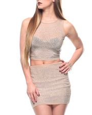 Womens New Years Eve Outfits - S/S Crystal Detail Crop + Mini Skirt Set-2171151