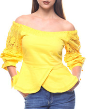 Fashion Tops - Off Shoulder Blouse Lace Detail Sleeve