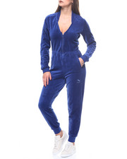 Jumpsuits - V-neck Velour T7 Jumpsuit-2168654