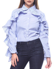 Women - L/S Button Down Shirt Ruffle Sleeve