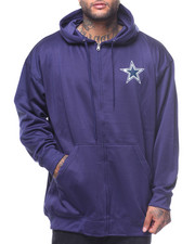 NBA, MLB, NFL Gear - L/S Dallas Cowboys Left Chest Print Full Zip Poly Fleece Hoodie (B&T)
