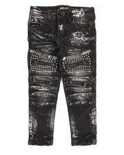 Bottoms - Metal Stud Trim Biker Jean (4-7)
