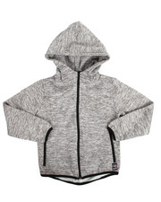 Hoodies - Yarn Dyed High Neck Full Zip Fleece Hoodie (8-20)