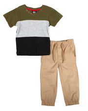 Arcade Styles - Color Block Knit Top & Twill Jogger Set (2T-4T)