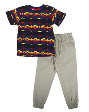 Sets - Navajo Print Knit Top & Twill Jogger Set (4-7)