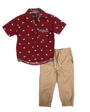 Sets - All Over Print Woven & Twill Jogger Set (2T-4T)