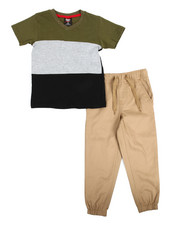 Sets - Color Block Knit Top & Twill Jogger Set (4-7)
