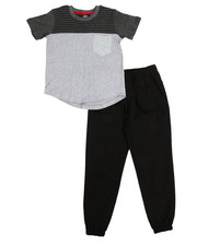 Sets - Marled Knit Top & Twill Jogger Set (8-20)
