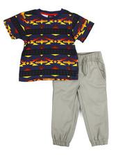 Arcade Styles - Navajo Print Knit Top & Twill Jogger Set (2T-4T)