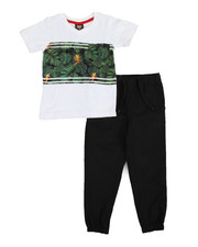 Sets - Jungle Stripe Knit Top & Twill Jogger Set (4-7)