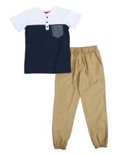 Sets - Color Block Knit Top & Twill Jogger Set (8-20)