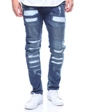 Buyers Picks - ZIPPER TRIM DISTRESSED SKINNY BIKER JEANS