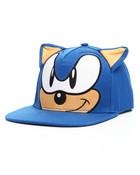 Sonic Big Face Flat Brim Hat 3D Ears Snapback Hat
