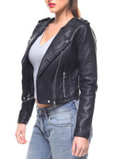 Outerwear - Faux Leather Moto Jacket