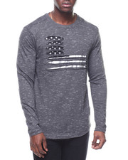 Long-Sleeve - L/S RIPPED TEE W FLAG PRINT