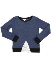 Tops - Lace Inserted Denim Knit Shirt (7-16)