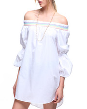 Dresses - Off Shoulder Stripe Trim Bell Sleeve Dress