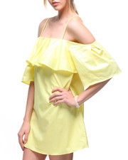 Tops - Off Shoulder Spaghetti Strap Ruffle Top Dress-2180052