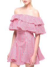 Dresses - Gingham Off-Shoulder Tiered Top Dress