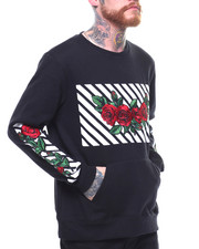Men - L/S  FLEECE CREW WITH ROSES