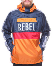 Men - color block windbreaker w tape sleeve