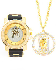 Men - 2Pc Jesus Necklace and Watch Set