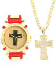 Men - 2Pc Cross Necklace And Watch Set