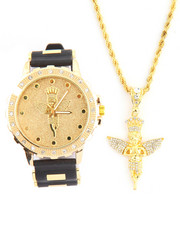 Men - 2Pc Angel Necklace and Watch Set