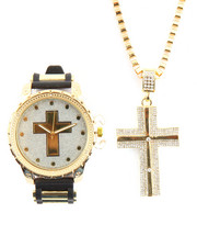 Men - Cross Necklace And Watch Set