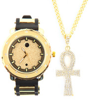 Men - 2Pc Ankh Necklace and Watch Set