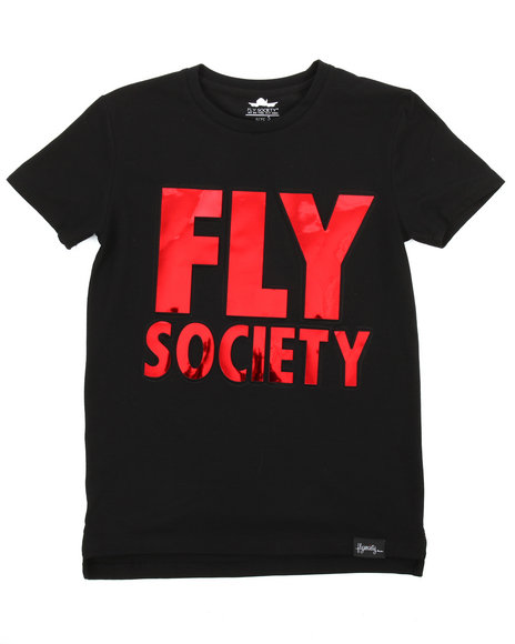 Flysociety - Embossed Mirror Metallic Logo Print Tee (8-20)