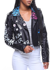 Women - Faux Leather Studded Jacket Verbage Print