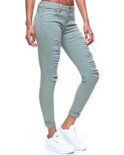 Bottoms - 5 Pocket Destructed Roll Cuff Jean