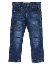 Bottoms - Deep Blue Moto Denim Jean (2T-4T)