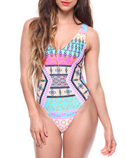 Swimwear - Deep V Front /Ring Detail 1 Piece Swimsuit-2186537