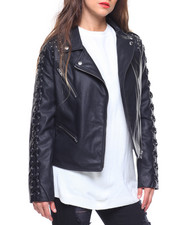 Spring-Summer-W - Faux Leather Moto Jacket/Lace Up Sleeve