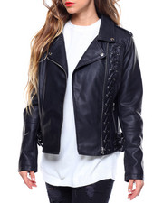 Spring-Summer-W - Faux Leather Moto Jacket/Lace Up Asymmetrical Zip