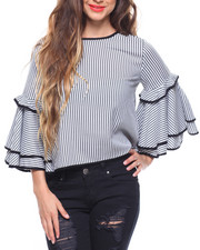 Fashion Tops - Stripe Bell Ruffle Sleeve Blouse