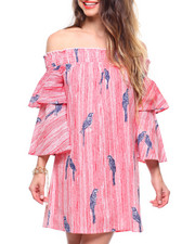 Dresses - Printed Stripe Off Shoulder Dress Ruffle Sleeve