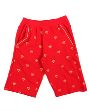 Bottoms - All Over Foil Print Fleece Shorts (4-7)
