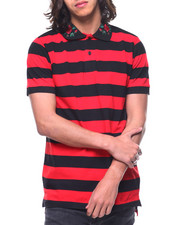Shirts - STRIPE POLO W EMBROIDERED COLLAR