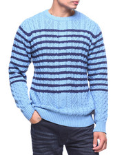 Sweatshirts & Sweaters - STRIPE CABLE SWEATER-2191793