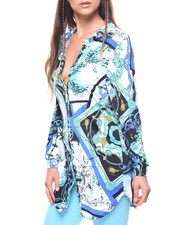 Women - L/S Printed Button Down Tunic